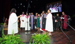 A choir sings at Convocation 2018.