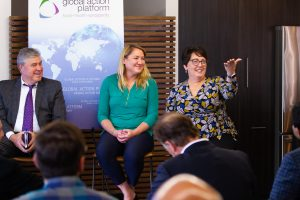 Amy Andrade takes questions on a panel at the Data Science Institute launch