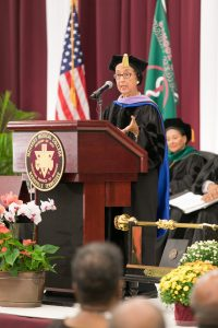Dr. Jeanne Craig Sinkford delivers her Convocation address.