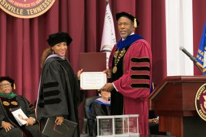 Dr. Valencia P. McShan receives the Exemplary Teacher's Award.