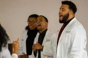 Male student of the Meharry Gospel Choir belts out his verse.