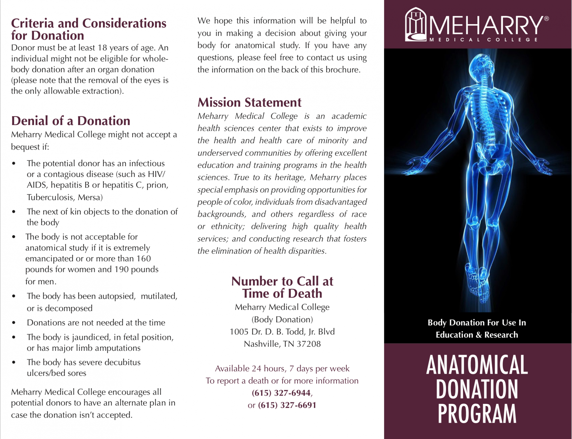 anatomical donation program brochure