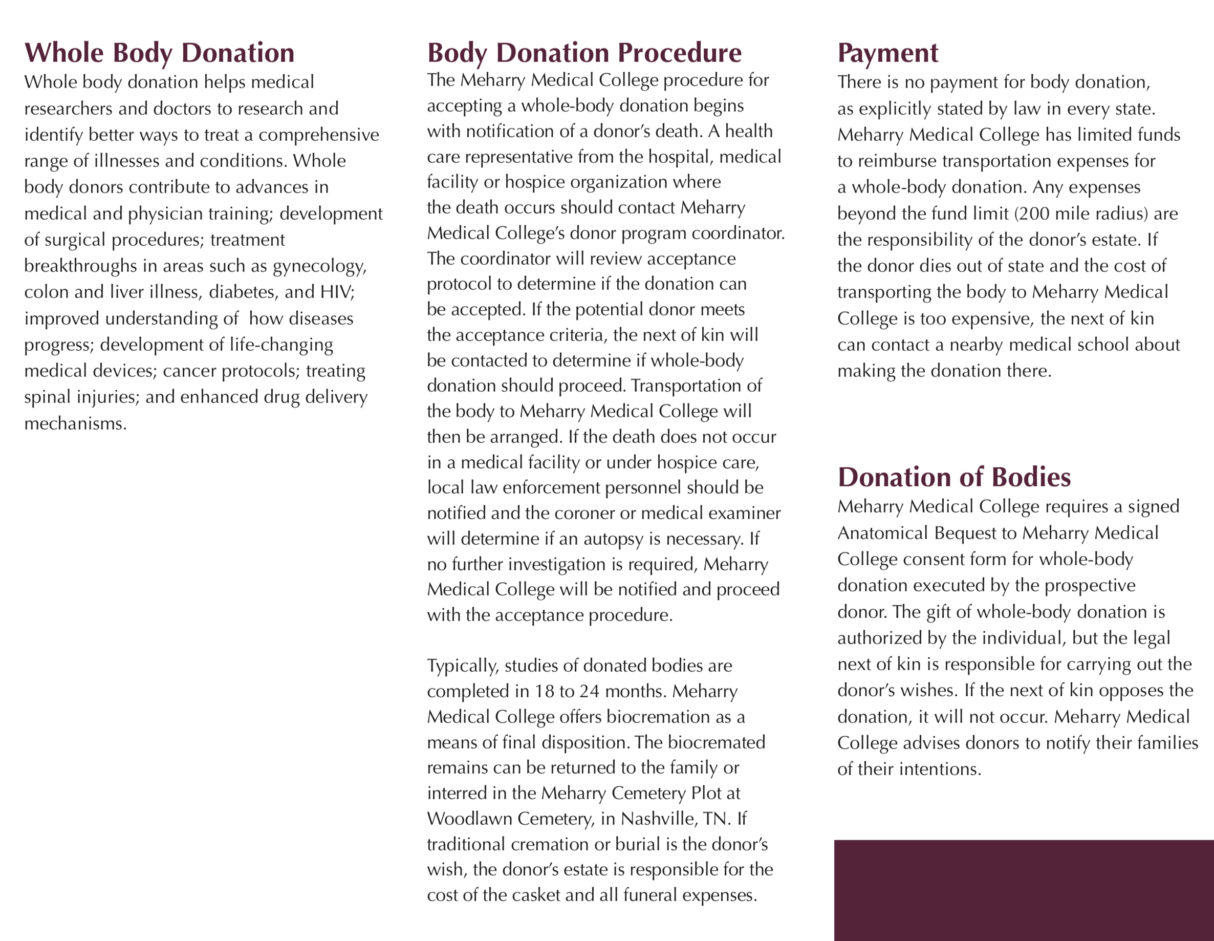 anatomical donation program brochure part 2