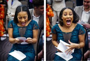 Two sequential pictures of a student opening her match letter then celebrating.