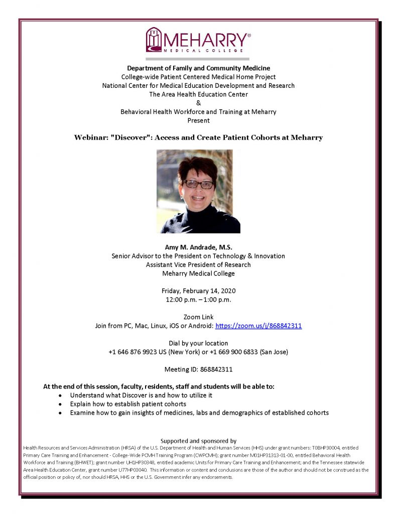 Webinar: Discover: Access and Create Patient Cohorts at Meharry • Friday, Feb. 14, Noon